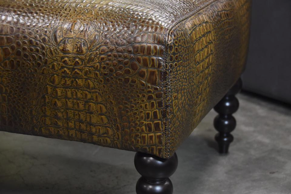 Beau Animal Skin Ottoman: Crocodile